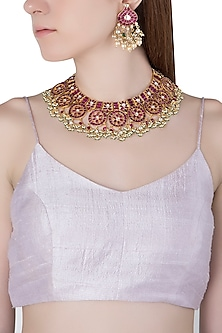 Gold Plated Pink Semi-Precious Stones Choker Necklace Set by Riana Jewellery