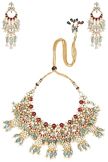Gold Plated Pink and Green Stones Choker Necklace Set by Riana Jewellery