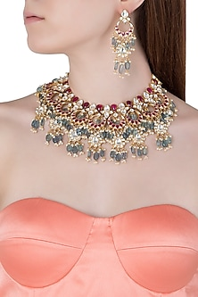 Gold Plated Pink and Green Stones Choker Necklace Set