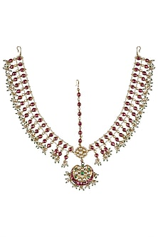 Gold Plated Pink Mathapati by Riana Jewellery