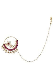 Gold Plated Pink and White Nath by Riana Jewellery