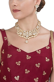 Gold Plated White Jadtar Necklace set by Riana Jewellery
