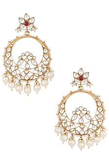 Gold Plated Chandbali Earrings by Riana Jewellery