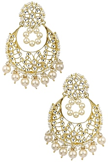Gold Plated Pearl String Baali Earrings by Riana Jewellery
