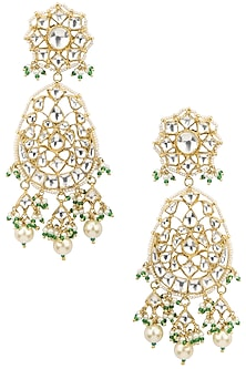 Gold Plated Long Earrings by Riana Jewellery
