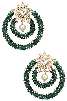 Gold Plated Green Bead Embellished Earrings by Riana Jewellery