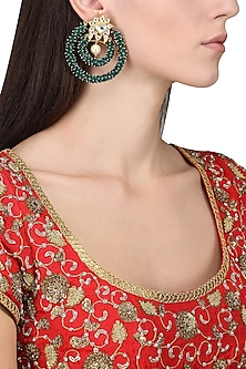 Gold Plated Green Bead Embellished Earrings