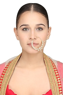 Gold Plated Single Line Nath by Riana Jewellery
