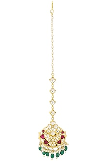 Gold Plated White Jadtar and Pink Stone Crescent Maang Tikka by Riana Jewellery