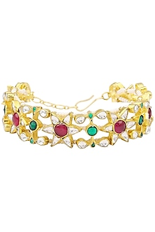 Gold Finish White Jadtar, Pink and Green Bracelet by Riana Jewellery