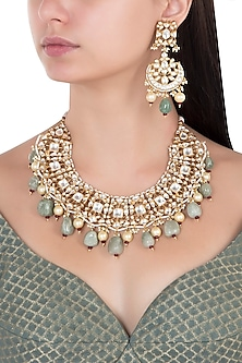 Gold Plated Sea Green and White Stones and Pearls Necklace Set