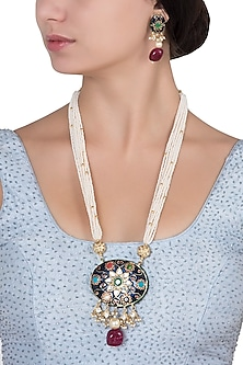 Gold Plated Pearls and Blue Meena Pendant Necklace Set by Riana Jewellery