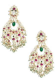 Gold Plated Pink and White Stones Chandbali Earrings by Riana Jewellery