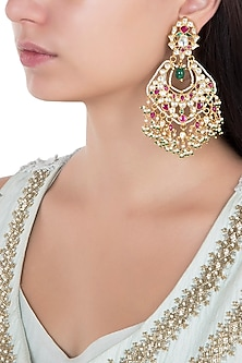 Gold Plated Pink and White Stones Chandbali Earrings