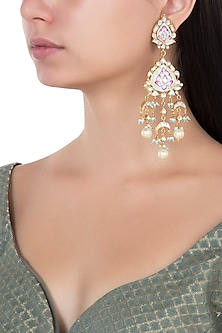 Gold Plated Pink and Firozi Meena Earrings