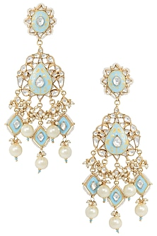 Gold Plated White and Firozi Meena Earrings by Riana Jewellery