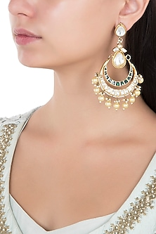 Gold Plated White and Green Stones Chandbali Earrings