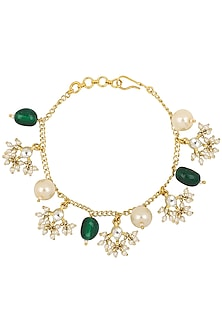 Gold Plated Pearl Bunch and Jadtar Rakhi Bracelet