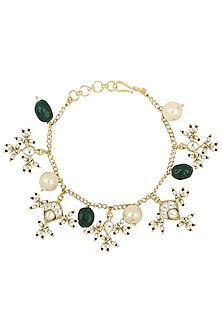 Gold Plated Green and White Pearls and Jadtar Rakhi Bracelet by Riana Jewellery