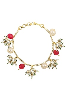 Gold Plated Pearls and Jadtar Rakhi Bracelet