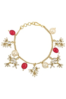 Gold Plated Pink and White Pearls and Jadtar Rakhi Bracelet by Riana Jewellery