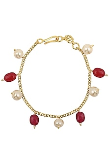 Gold Plated Pink and White Pearls Rakhi Bracelet