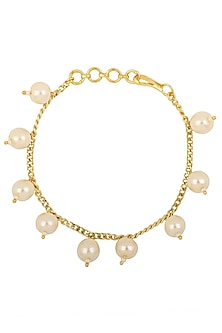 Gold Plated White Pearls Rakhi Bracelet