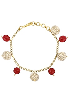 Gold Plated Pink and Textured White Pearls Rakhi Bracelet