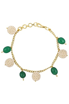 Gold Plated Green and Textured White Pearls Rakhi Bracelet by Riana Jewellery
