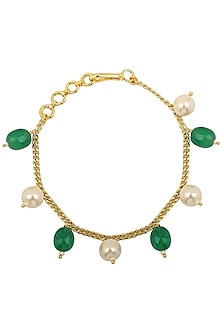 Gold Plated Green and White Pearls Rakhi Bracelet