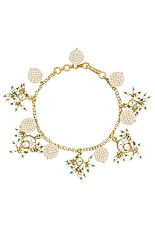 Gold Plated Green and Textured White Pearls and Jadtar Rakhi Bracelet by Riana Jewellery