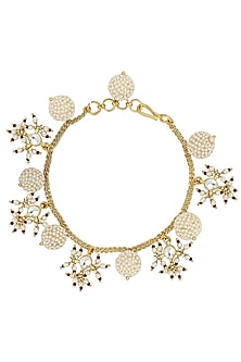 Gold Plated Textured White Pearls and Jadtar Rakhi Bracelet by Riana Jewellery