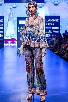 Grey & Indigo Boho Short Tunic by Rajdeep Ranawat