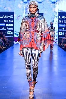 Benish Red & Indigo Printed Pants by Rajdeep Ranawat