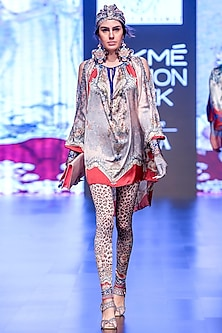 Blush Pink & Grey Boho Tunic by Rajdeep Ranawat