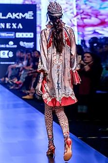 Ferhana Blush Pink & Grey Printed Tunic by Rajdeep Ranawat