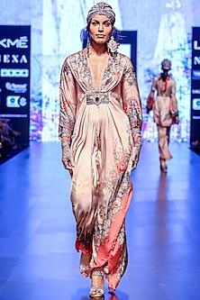 Blush Pink Printed Long Kaftan With Jewelled Belt by Rajdeep Ranawat