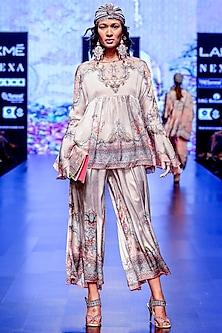 Blush Pink Printed Pleated Culotte Pants by Rajdeep Ranawat