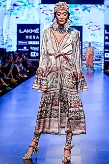Slate Frill Long Jacket With Belted Tie by Rajdeep Ranawat