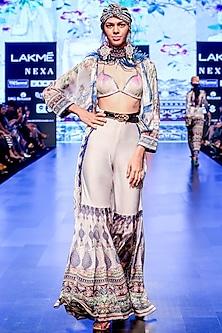 Slate Printed Panelled Sharara Pants by Rajdeep Ranawat
