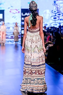 Slate Embroidered Printed Tiered Halter Dress by Rajdeep Ranawat