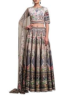 Blush Pink Digital Printed Silk Lehenga Set by Rajdeep Ranawat