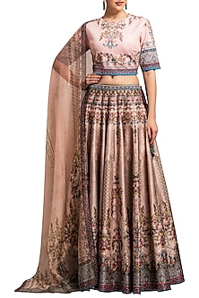 Blush Pink Digital Printed Lehenga Set by Rajdeep Ranawat