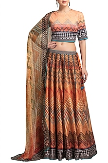 Orange Digital Printed Lehenga Set by Rajdeep Ranawat