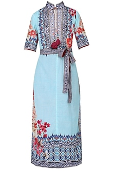 Aqua Blue Floral Printed Band Collar Kurta