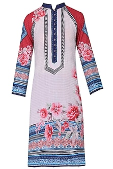 Ivory Floral Printed High Low Tunic