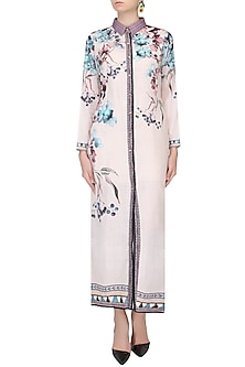 Beige Floral Printed Front Open Long Shirt by Rajdeep Ranawat