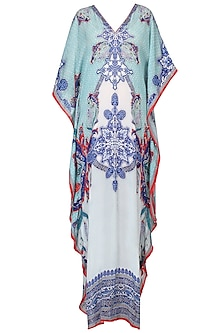Aqua Blue Digital Print V-Neck Kaftan
