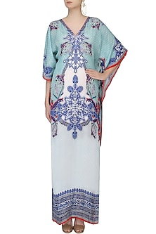 Aqua Blue Digital Print V-Neck Kaftan by Rajdeep Ranawat