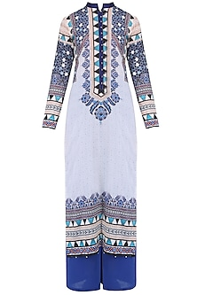 Ivory Digital Print Kurta Set With Palazzo Pants
